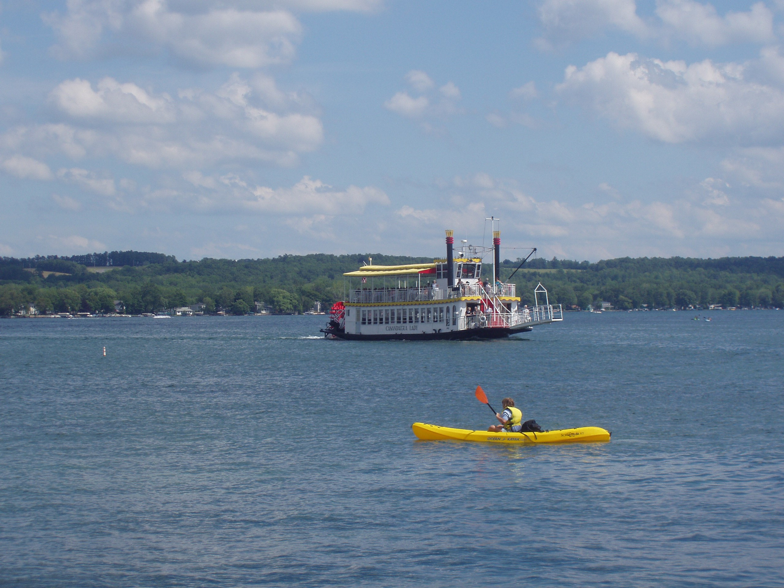 Kayaker and Canandaigua Lady